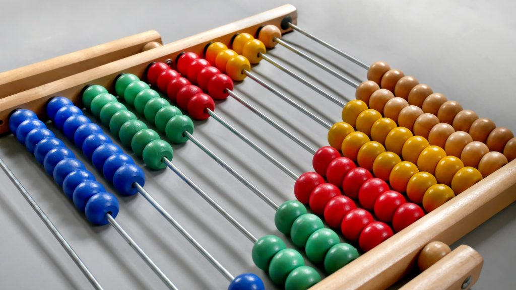 Perspective Abacus for Counting Practice, Beads Aligned Diagonally on Gray Background